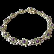 """Peridot & Amethyst Sterling Silver Flowers & Kisses Vintage Bracelet 8"""""""