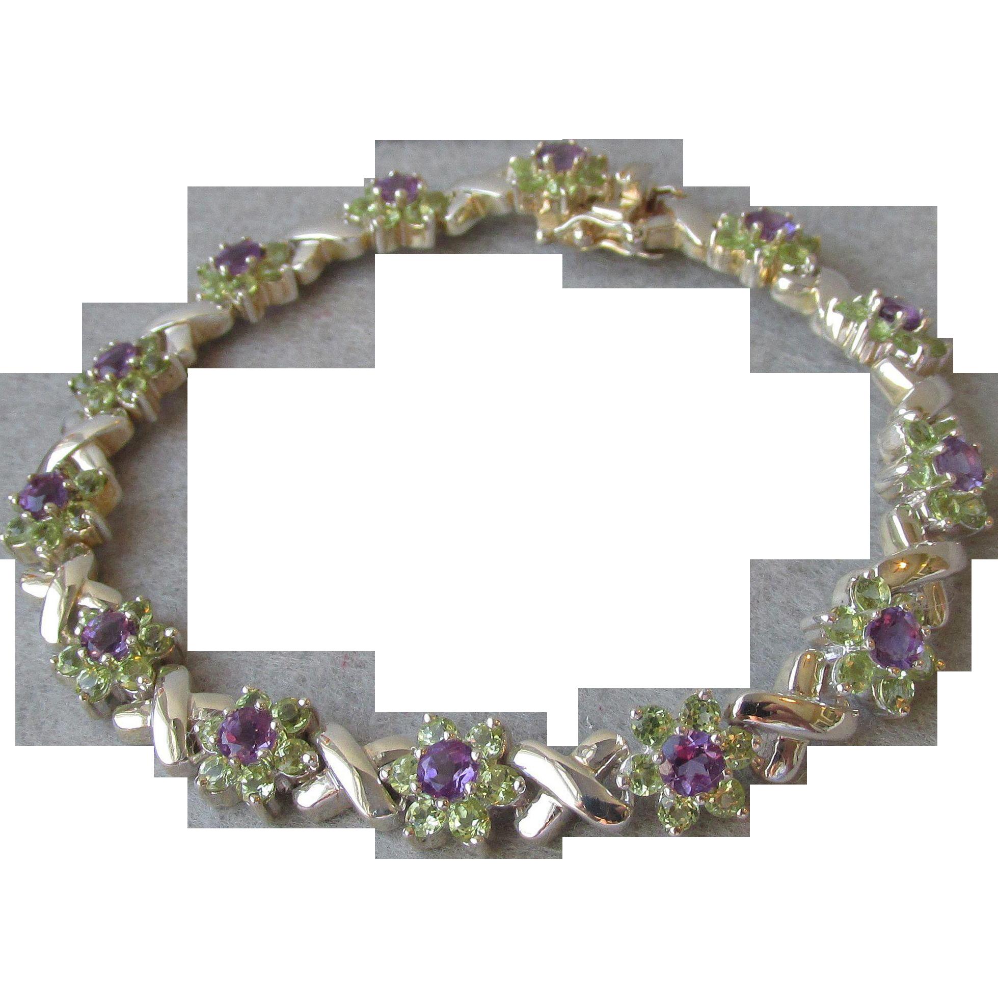 "Vintage 1980's Peridot & Amethyst Sterling Silver Flowers & Kisses Bracelet, Size Large 8"""