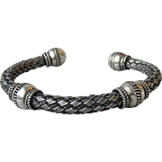 "Heavy Bali Sterling Silver Open Braided Vintage Bangle Bracelet, Unisex 7""-8"""