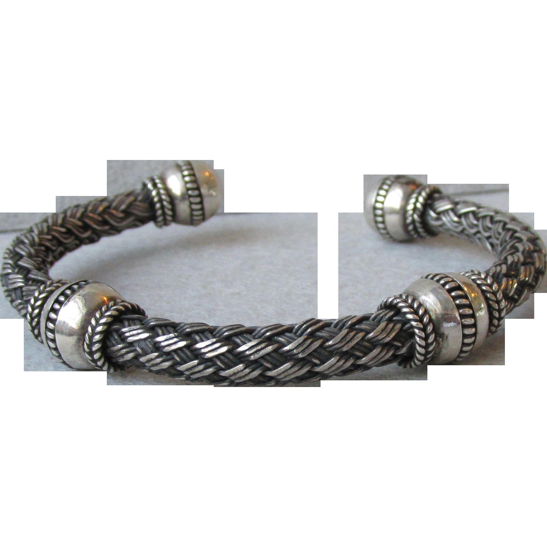 "Heavy Bali Sterling Silver Open Braided Vintage Bangle Bracelet, Unisex 7""-8"""