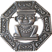 Old 900 Mexican Silver Aztec Design Brooch, Vintage Pin