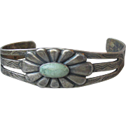 Early Navajo Native American Pale Green Turquoise & Sterling Silver Flower Cuff Bracelet