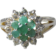 Sterling Silver, Emerald & Cubic Zirconia Vintage Flower Cocktail Ring, Size 7