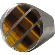 Taxco Mexico Vintage Men's Tiger Eye Sterling Ring, Size 10.5