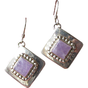 Signed Sterling Silver, Purple Quartz Dangle Sterling Silver Bali Style Earrings
