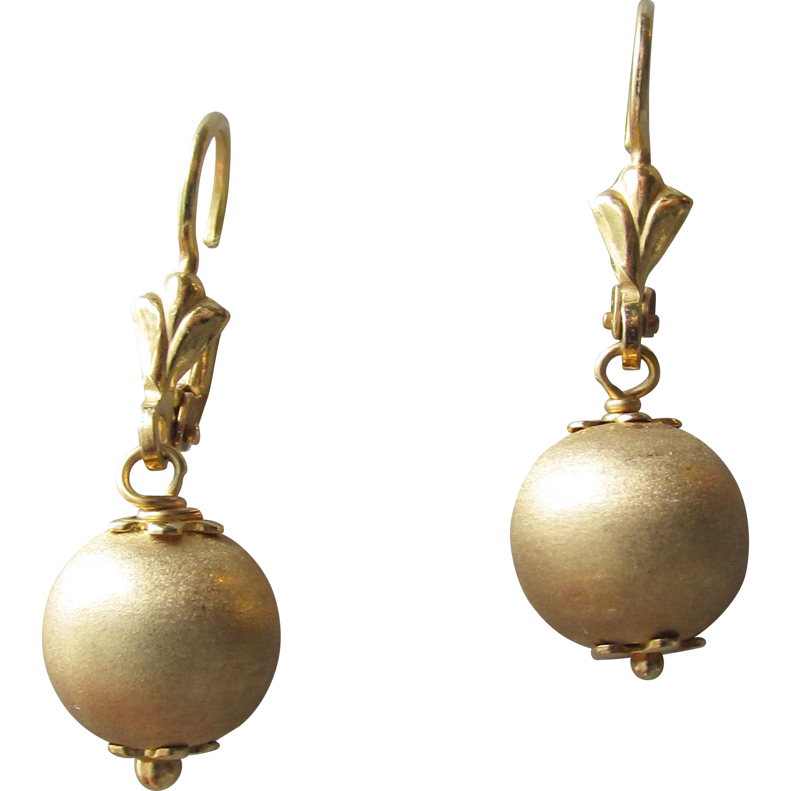 Simple Brushed Gold Washed Sterling Silver Ball Dangle Pierced Lever Back Vintage Earrings