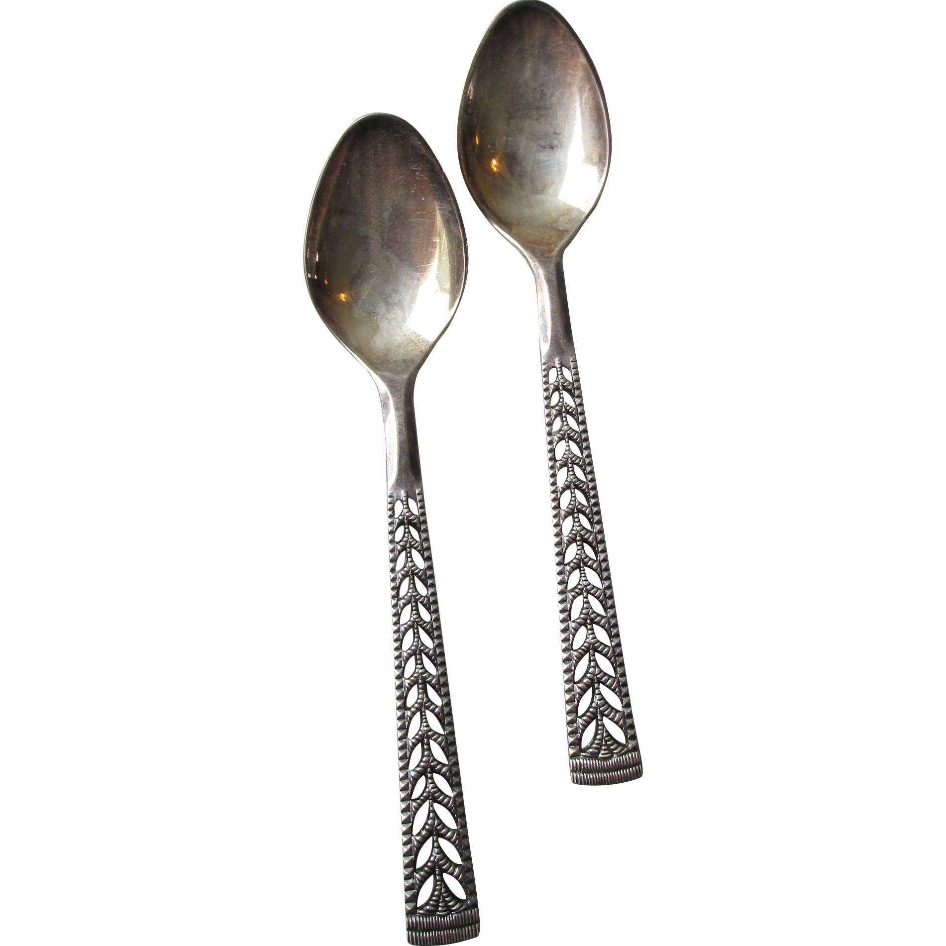 "Vintage Norwegian 830S Silver Nils Hansen ""Juvel"" Pattern Demitasse Spoon Set Of 2"