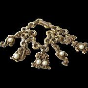 1950's Vintage Charm Bracelet, Gold Tone Birds Pearl Jelly Belly