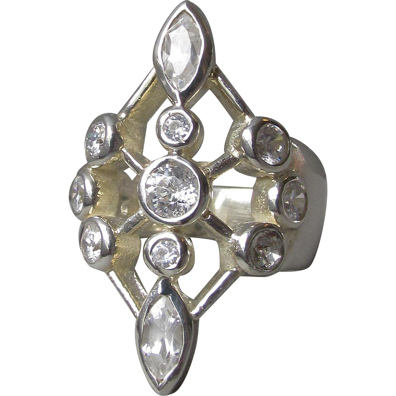 Vintage Modernist Atomic Sterling Silver & Rhinestone Cocktail Ring, Size 6