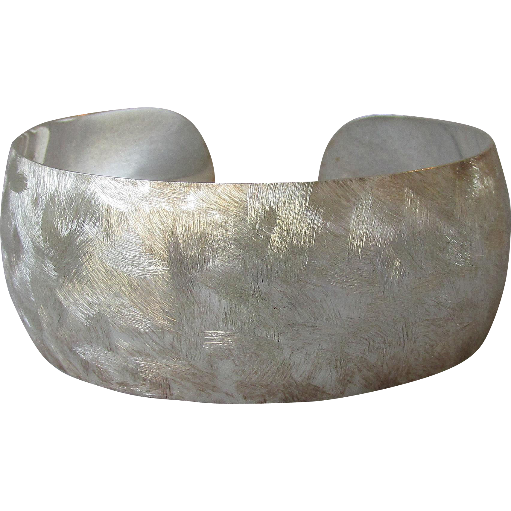 Vintage Wide Brushed Turkish Sterling Silver Cuff Bracelet, LARGE Size
