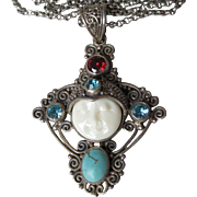 Magnificent Vintage Sterling Silver & Gemstone Carved Bone Moon Goddess Face Necklace with Garnet, Blue Topaz, & Howlite