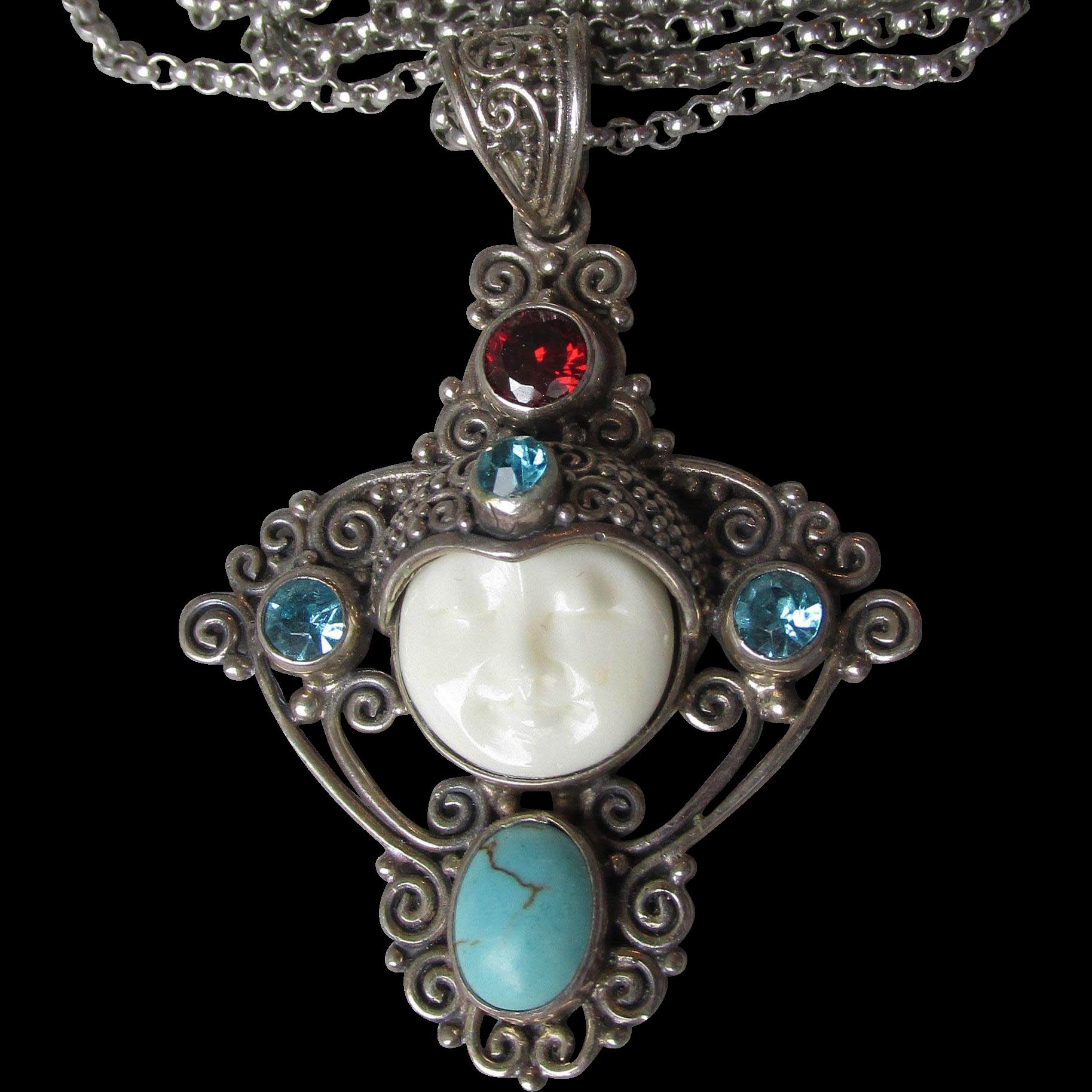 Magnificent Vintage Sterling Silver & Gemstone Carved Bone Moon Goddess Face Necklace with Garnet, Blue Topaz, & Howlite