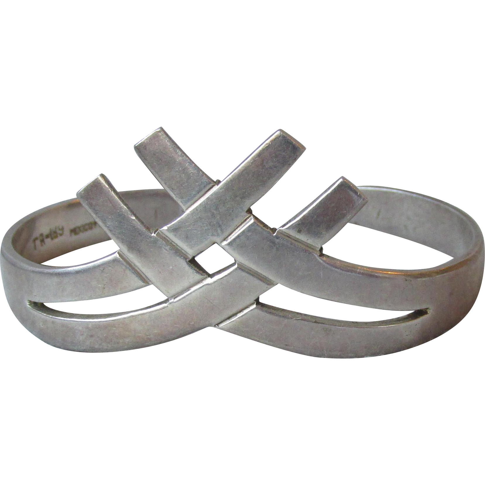 Vintage Taxco Mexico Sterling Silver Basket Weave Cuff Bracelet, Modernist Bangle Criss-Cross Design