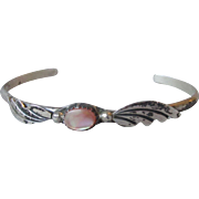 Dainty Navajo Native American Vintage Sterling Silver & Pink Mother-of-Pearl Cuff Bracelet