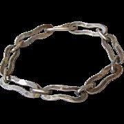 """Men's or Woman's Unisex Sterling Silver Modernist Link Vintage Sterling Silver Bracelet, Size 8 1/2"""""""