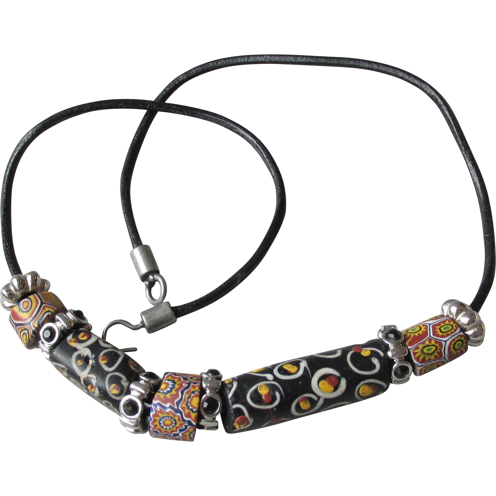 Authentic Antique Venetian Art Glass Millefiori African Trade Beads on Black Leather Necklace