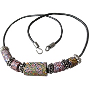 Authentic Antique Multi-Color Venetian Art Glass Millefiori African Trade Beads on Black Leather Necklace