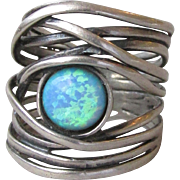 Vintage Signed Israel Wide Multi Band Sterling Silver Lab Opal Ring, Size 6