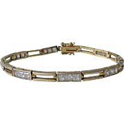 Vintage Gilt Sterling CZ Bracelet 1980s Emerald Square Cut & Open Bar Links