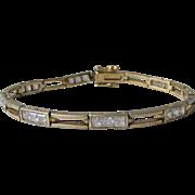 Vintage Gilt Sterling CZ Bracelet 1980s Emerald Square Cut & Open Bar Links