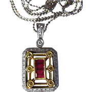 18k Yellow & 14k White Gold Yellow Pave' Diamond & Ruby Vintage Deco Style Pendant Necklace