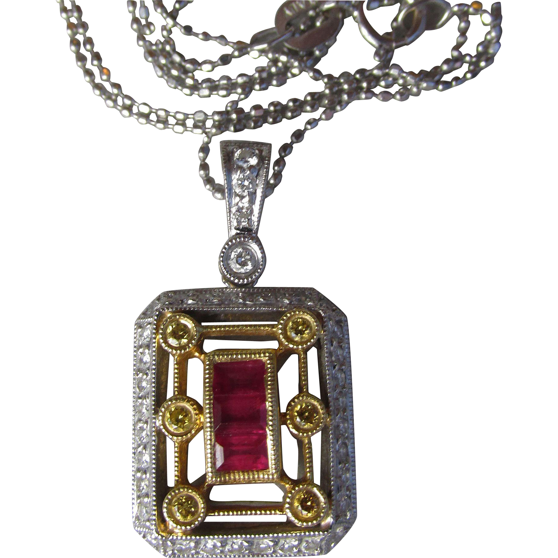 50% OFF - 18k Yellow & 14k White Gold Yellow Pave' Diamond & Ruby Vintage Deco Style Pendant Necklace