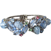 Spectacular Juliana DeLizza & Elster D&E Hinged Clamper Bracelet, Beautiful Blues