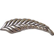 Vintage Heavy Taxco Mexico Sterling Silver Long LEAF Pin