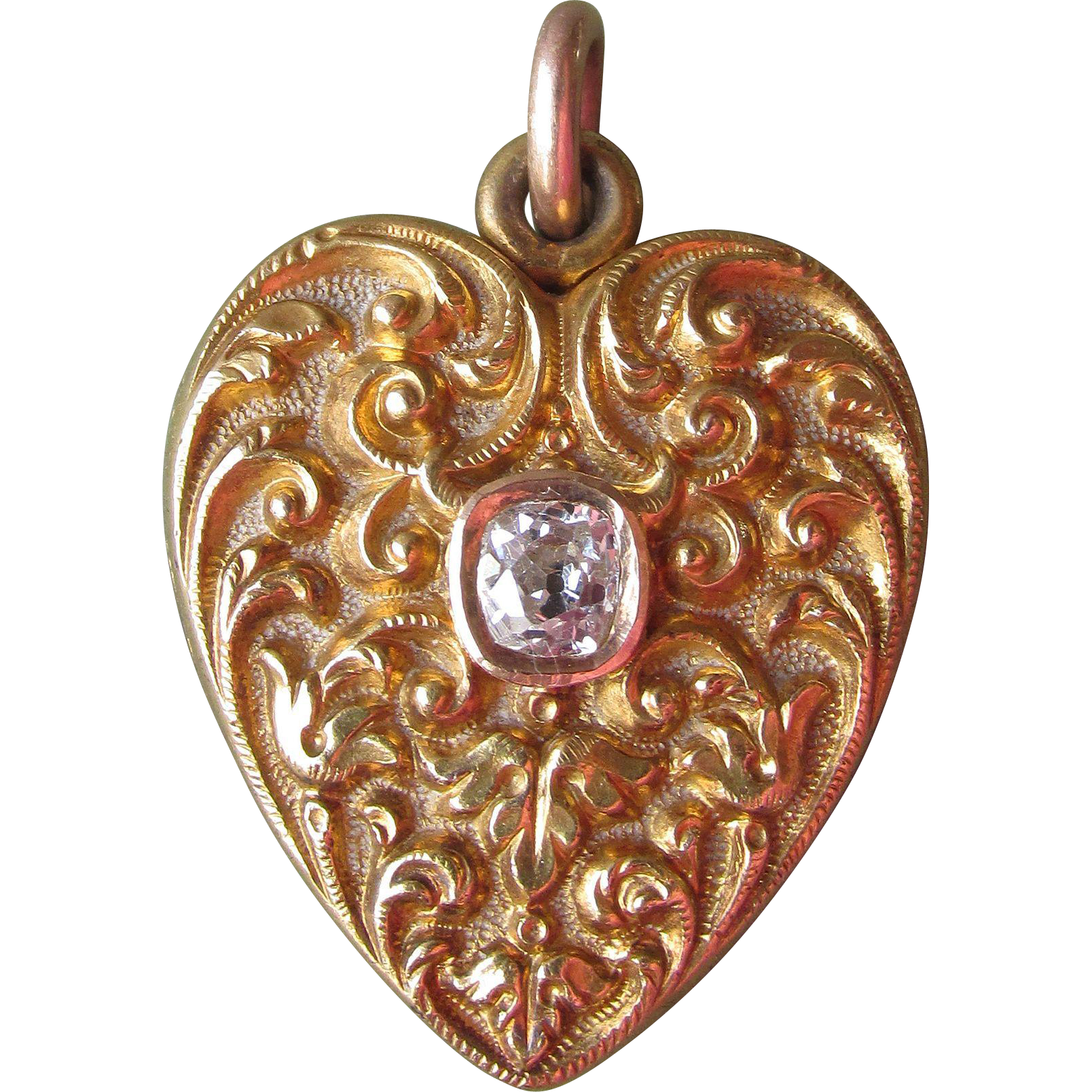 Antique 18k Gold & Diamond Victorian Mourning Heart Locket with Tintype