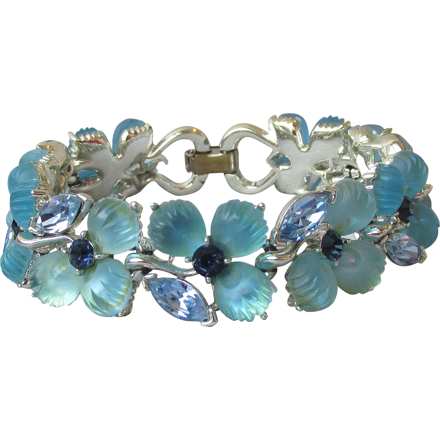 Superb Signed LISNER Molded Blue Glass & Rhinestone Flower Bracelet