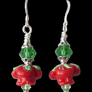 """""""My Secret Garden"""" Lampwork Art Glass Artisan Earrings, """"Wonderland Rose"""" #76"""