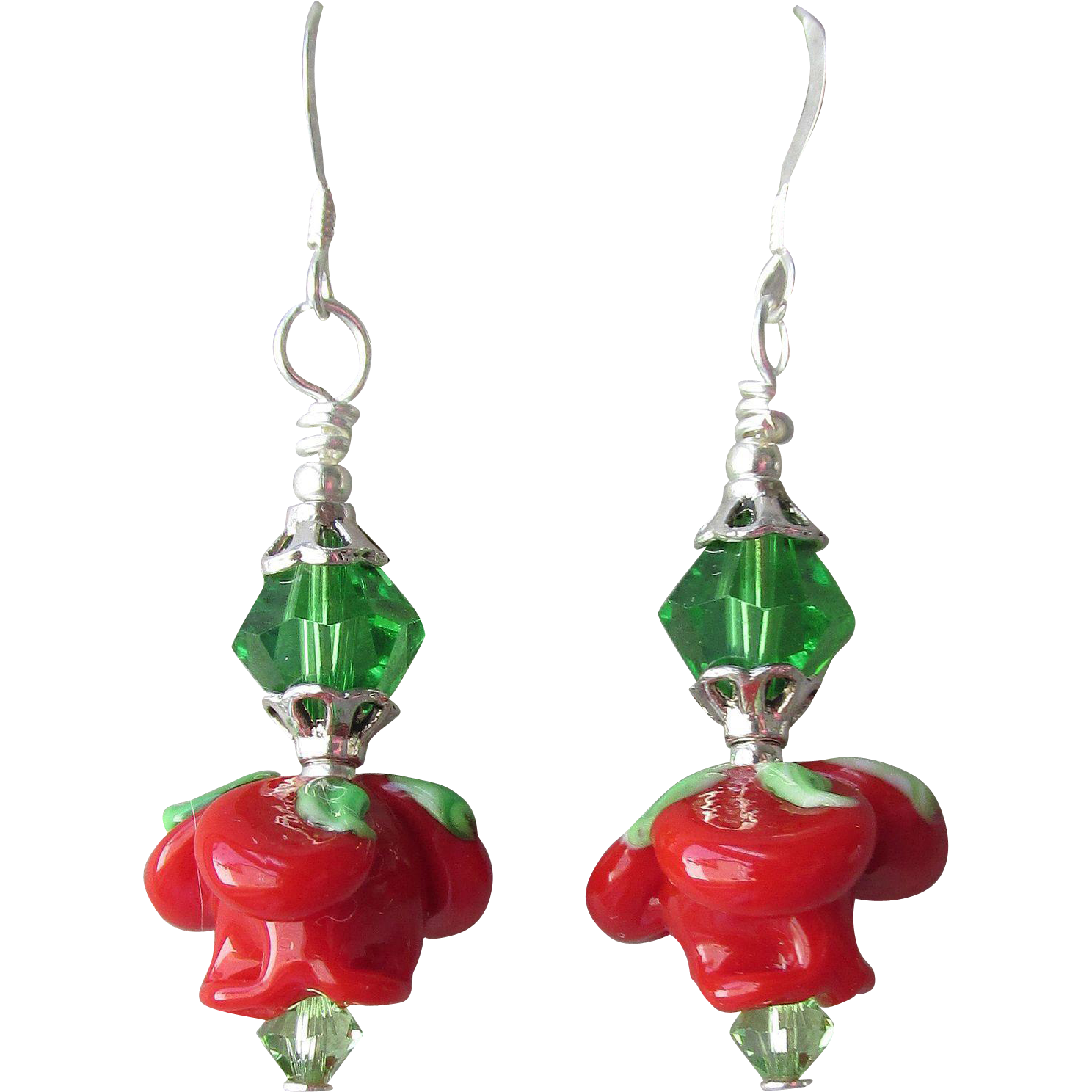 """My Secret Garden"" Lampwork Art Glass Artisan Earrings, ""Wonderland Rose"" #76"
