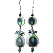 """My Secret Garden"" Lampwork Art Glass Artisan Earrings, ""Peacock Eye"" #79"