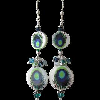 """""""My Secret Garden"""" Lampwork Art Glass Artisan Earrings, """"Peacock Eye"""" #79"""