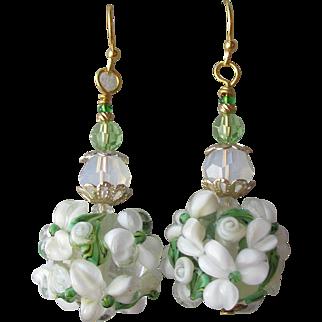 """My Secret Garden"" Lampwork Art Glass Artisan Earrings, ""Snowball Bush"" #77"