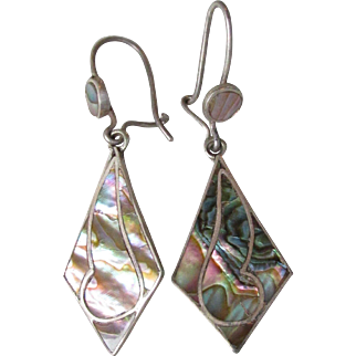 Vintage 1960's Taxco Mexico Sterling Silver & Abalone Shell Dangle Pierced Earrings