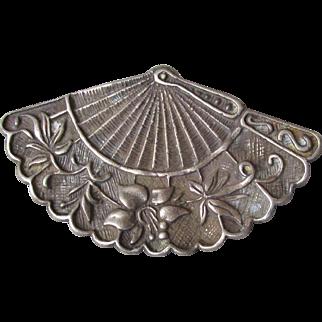 Vintage Signed George Schuler Co. Sterling Silver Fan Pin Brooch