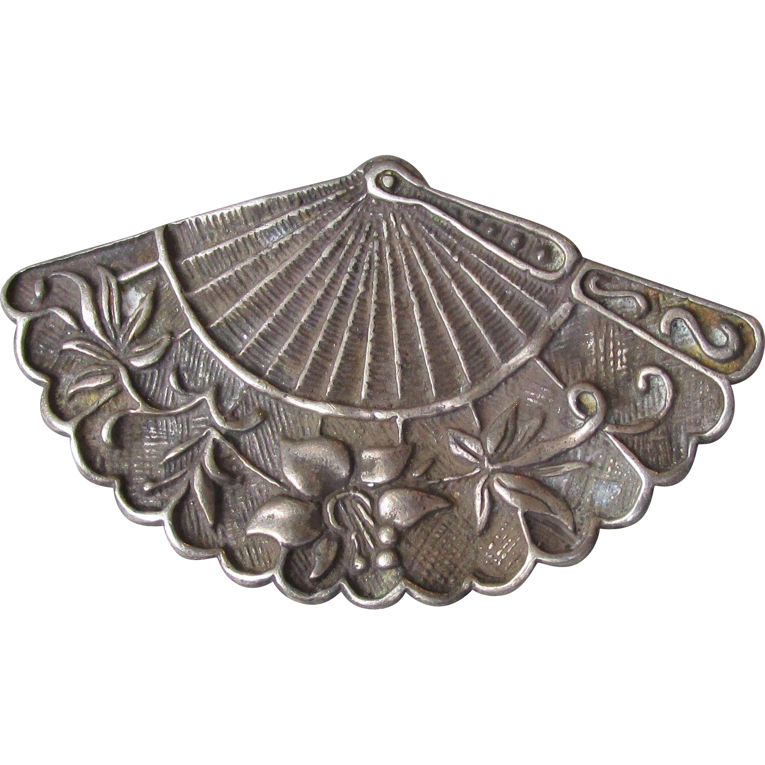 Vintage Signed George Schuler Co. Sterling Silver Fan Pin Brooch