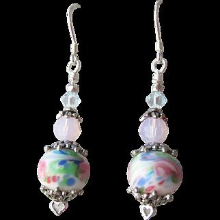 """My Secret Garden"" Art Glass Artisan Earrings, ""Watercolor Blush""  #80"