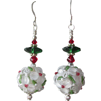 """""""My Secret Garden"""" Art Glass Artisan Earrings, """"Raspberry Margarita"""" #81"""