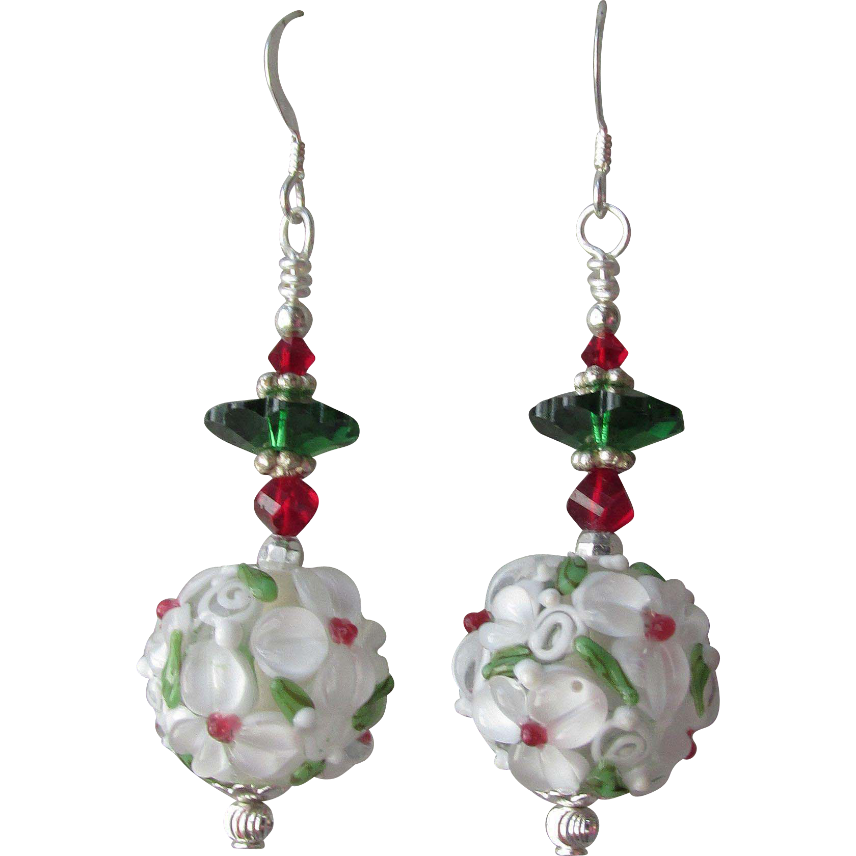 """My Secret Garden"" Art Glass Artisan Earrings, ""Raspberry Margarita"" #81"