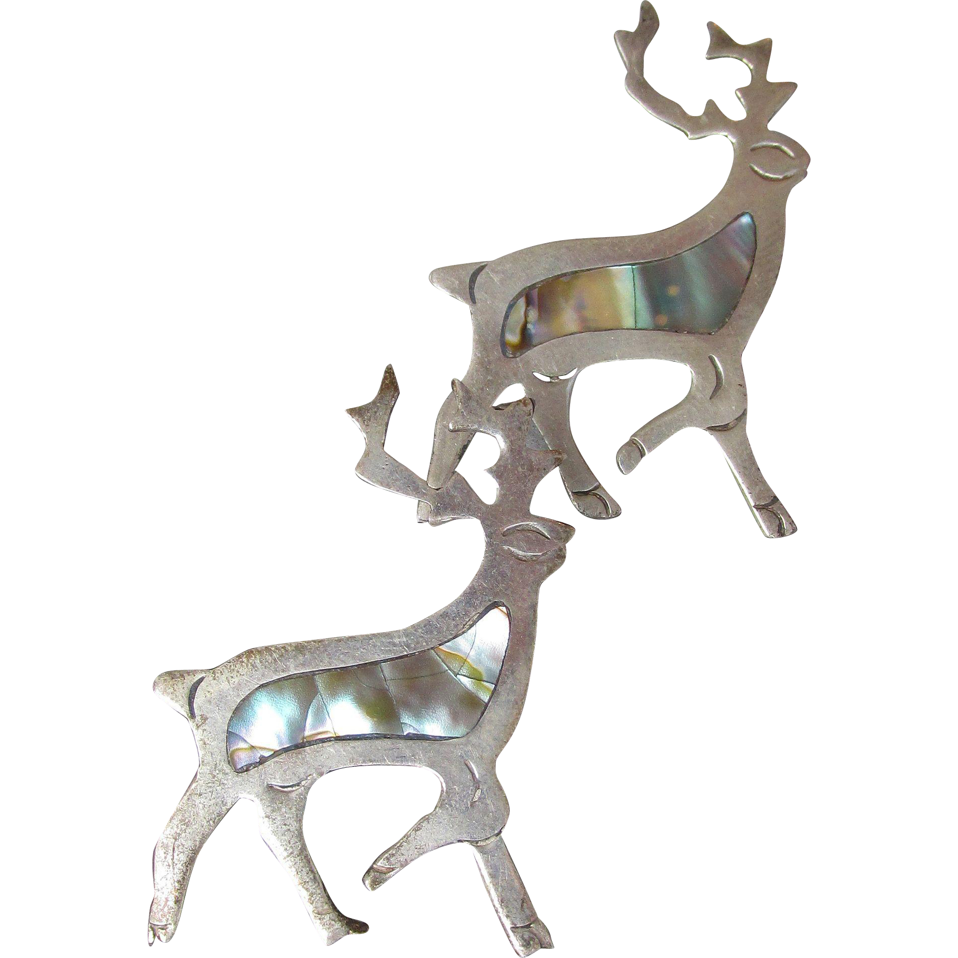 PAIR Vintage Taxco Mexico Sterling Silver & Abalone Shell DEER Shaped Pins Brooch