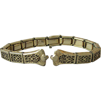 Signed Anne Louise Art Deco 1920's Vintage 12k Yellow Gold-Filled Filigree Ladies Stretch Watch Band