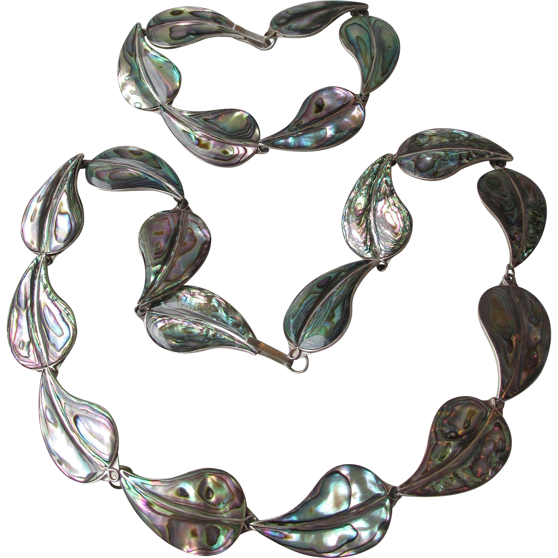 1970's Taxco Mexico Sterling Silver Abalone Leaf Necklace & Bracelet Set, Vintage Demi Parure by Designer EVB