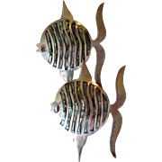 PAIR Taxco Mexico Sterling Silver & Abalone Angel FISH Pins, Vintage Brooch, Eagle 3 Mark