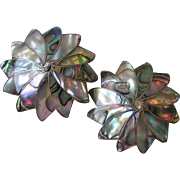 Pair Mexico Sterling Silver & Abalone Shell Star Flower Pendants Pins, Signed CLD Eagle 167