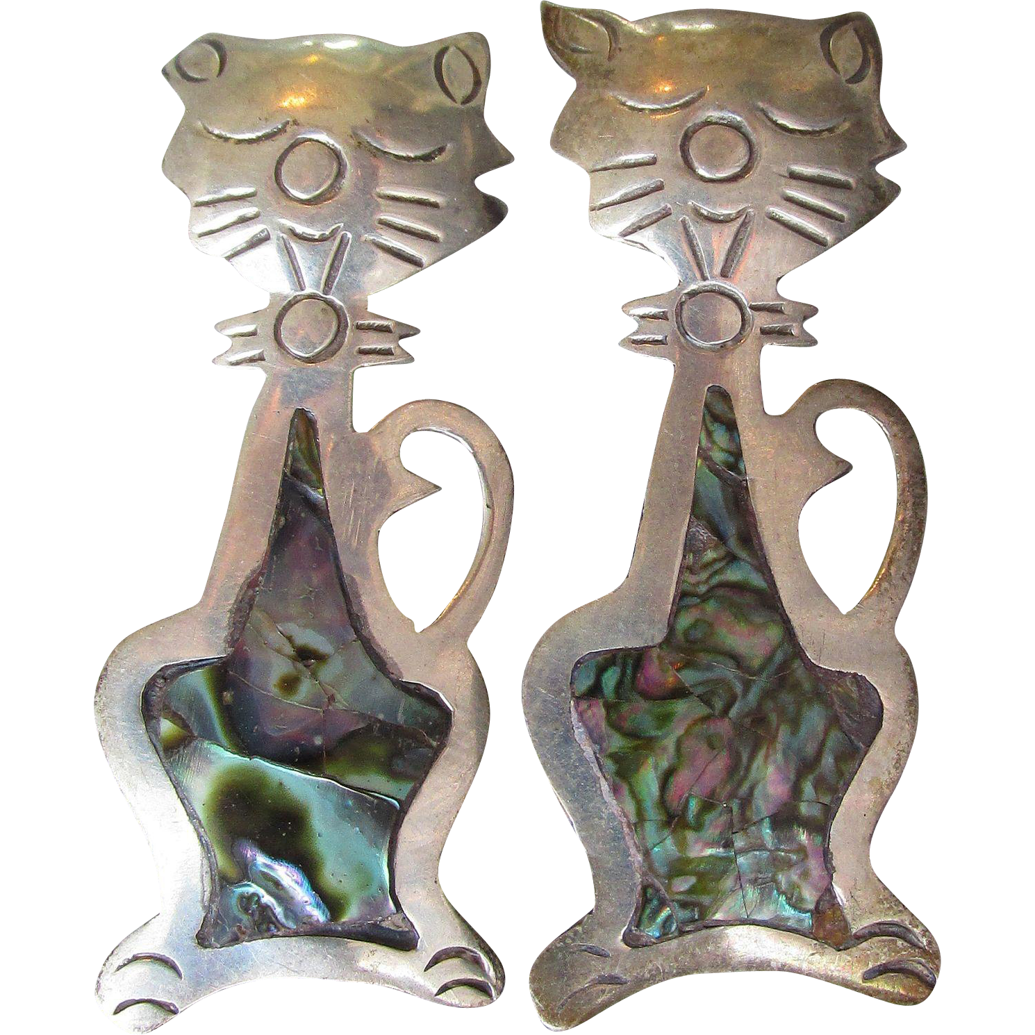 Pair of Taxco Mexico Sterling Silver & Abalone Sitting CAT Pins, Vintage Brooch