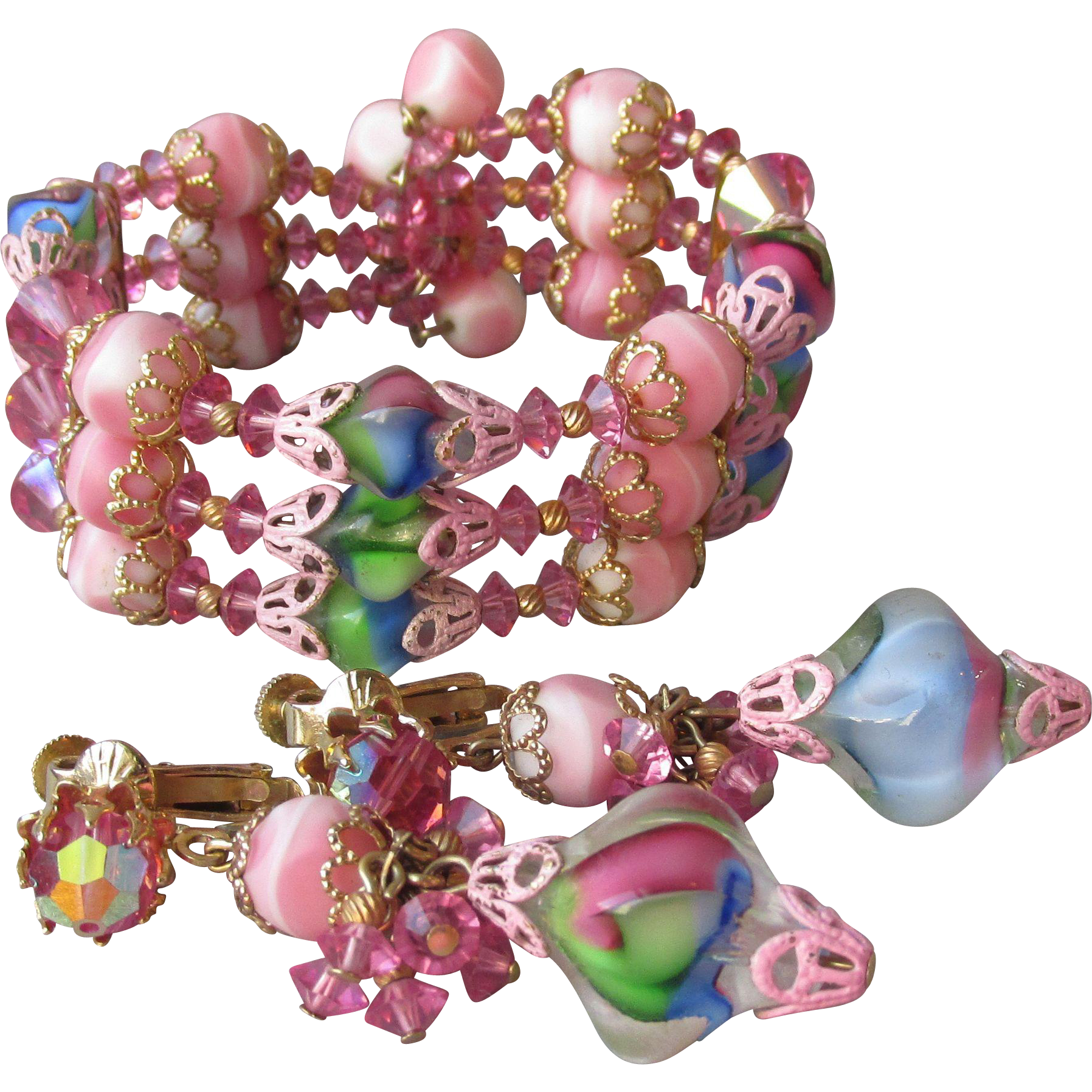 Vendome Memory Wire Bracelet & Dangle Earrings Vintage Demi Parure, Yummy Ice Cream Colors