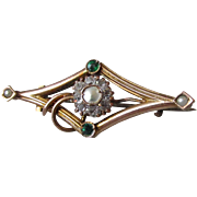 Antique Art Nouveau Italian 10k Gold and Pearl Pin, Signed Frov