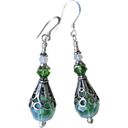 """""""My Secret Garden"""" Lampwork Art Glass Artisan Earrings, """"Sterling Icy Moss"""" #87"""